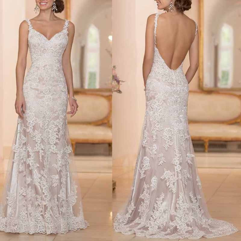 Spaghetti Strap Backless Wedding Dress  y Backless Wedding Dress Appliques Spaghetti Straps