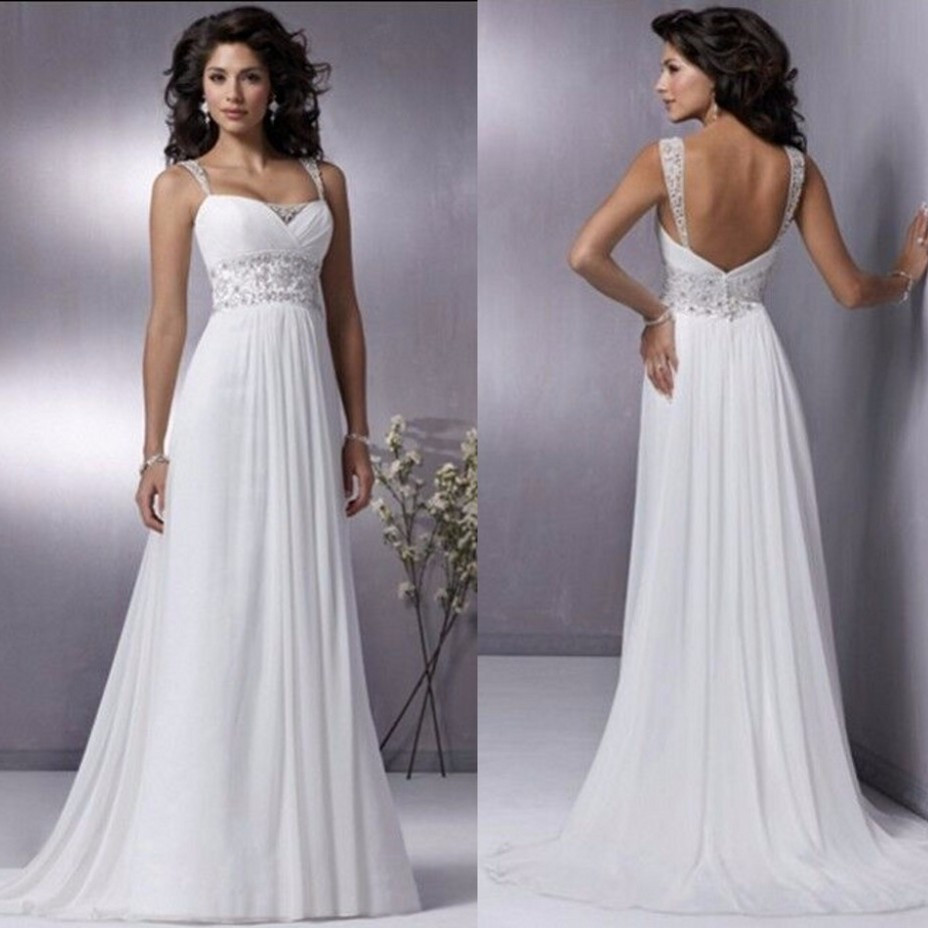 Spaghetti Strap Backless Wedding Dress  2016 Beach Modest Bridal Dresses Actual Image y