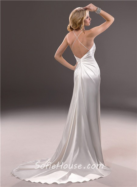 Spaghetti Strap Backless Wedding Dress  y Sheath Spaghetti Strap V Neck Backless Satin Wedding