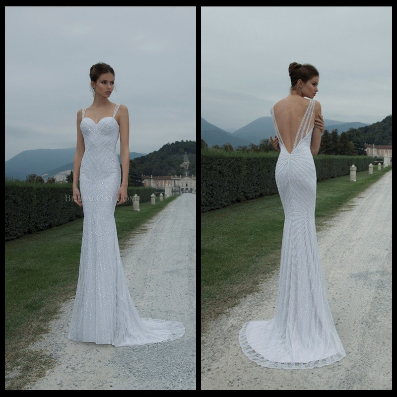 Spaghetti Strap Backless Wedding Dress  2014 Berta Bridal Spaghetti Strap Sequins Luxy Sheath y