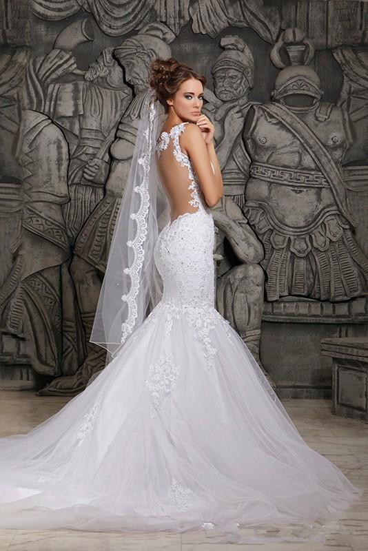 Spaghetti Strap Backless Wedding Dress  y Backless Mermaid Lace Wedding Dresses Applique