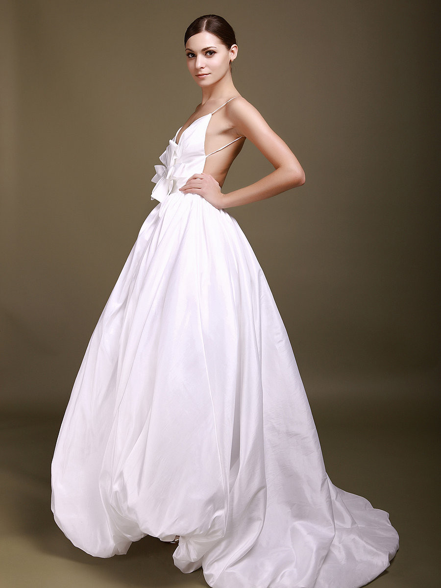 Spaghetti Strap Backless Wedding Dress  Ball Gown Deep V neck Spaghetti Straps Backless Taffeta