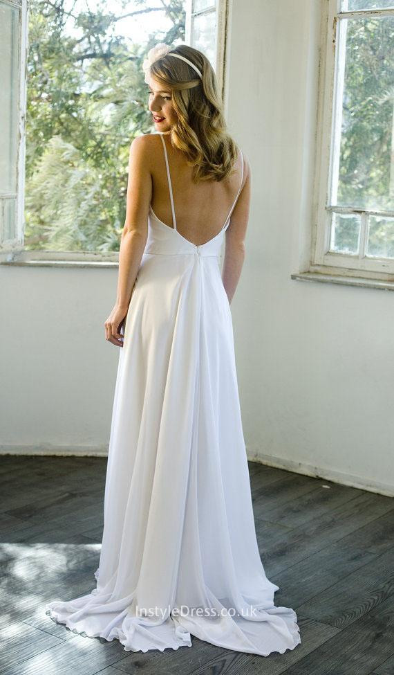Spaghetti Strap Backless Wedding Dress  Informal Spaghetti Straps Backless Pleat Ruched Beach