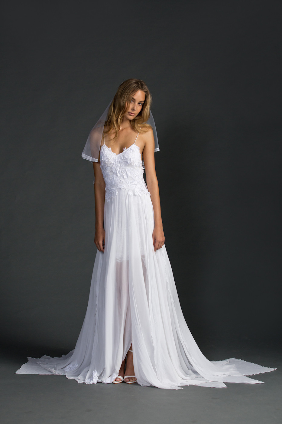 Spaghetti Strap Backless Wedding Dress  INM 159 Hot Spaghetti Strap Appliques Chiffon y