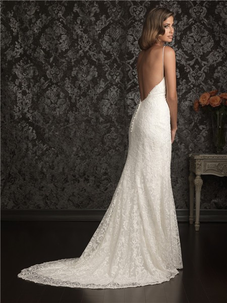 Spaghetti Strap Backless Wedding Dress  y Sheath Sweetheart Spaghetti Straps Lace Destination
