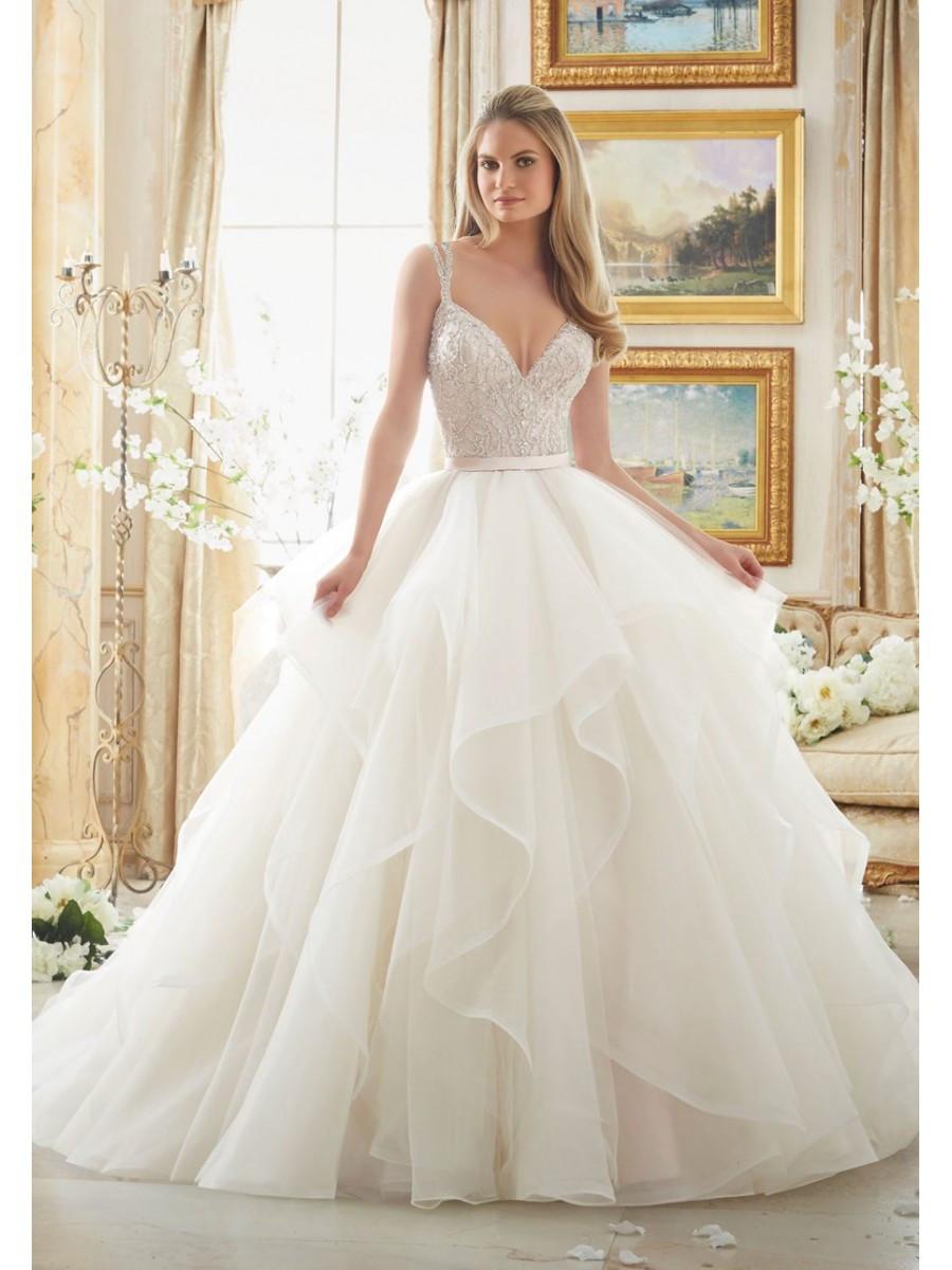 Spaghetti Strap Ball Gown Wedding Dress  Attractive Beaded Spaghetti Straps Bridal Ball Gown
