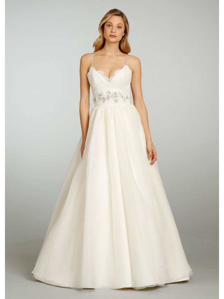 Spaghetti Strap Ball Gown Wedding Dress  Ball Gown Spaghetti Straps V neck Court Train Lace and