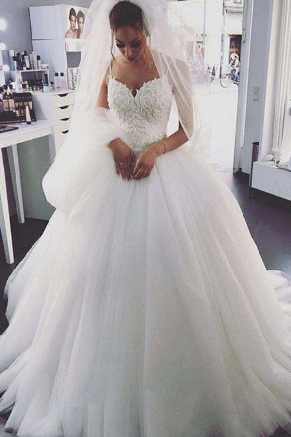 Spaghetti Strap Ball Gown Wedding Dress  Charming Tulle White Spaghetti Straps Ball Gown Wedding