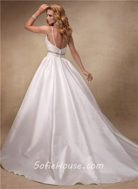 Spaghetti Strap Ball Gown Wedding Dress  y Ball Gown Deep V Neck Spaghetti Strap Taffeta Wedding