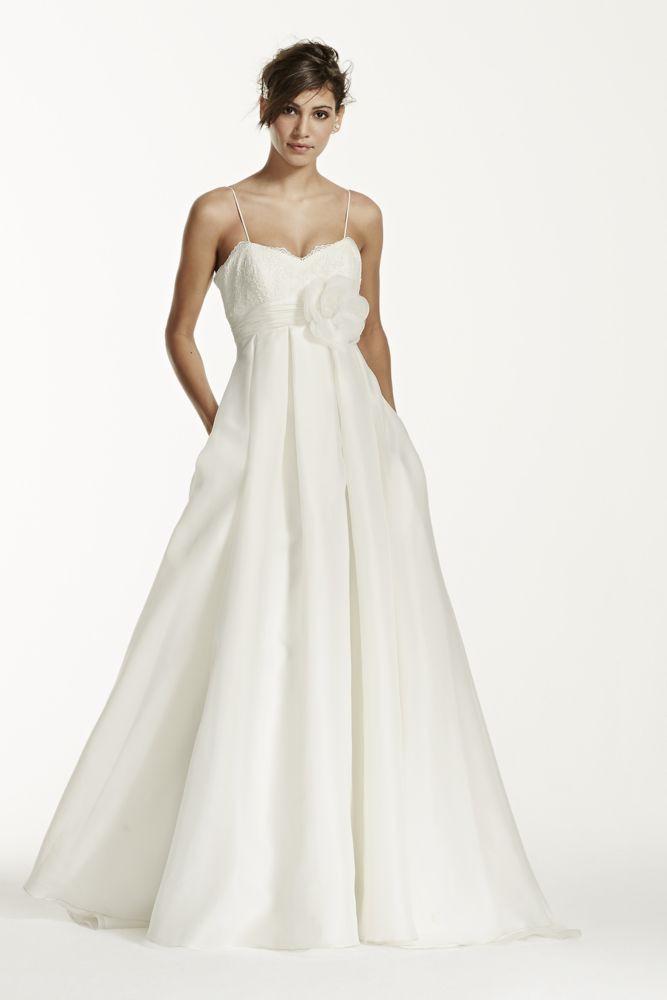 Spaghetti Strap Ball Gown Wedding Dress  Galina Spaghetti Strap Empire Waist Ball Gown Wedding
