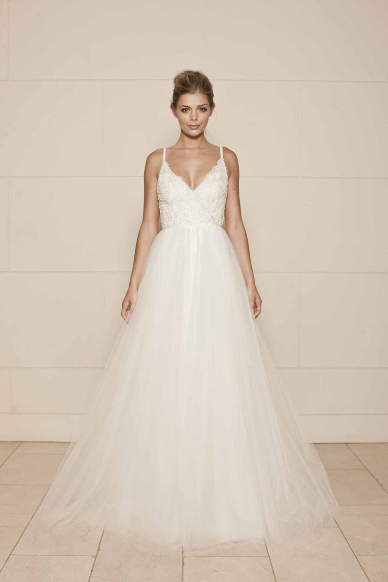 Spaghetti Strap Ball Gown Wedding Dress  Sleeveless Spaghetti Strap Ivory Lace and Tulle Vintage