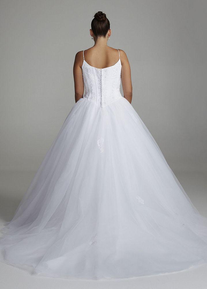 Spaghetti Strap Ball Gown Wedding Dress  David s Bridal SAMPLE Spaghetti Strap Tulle Ball Gown