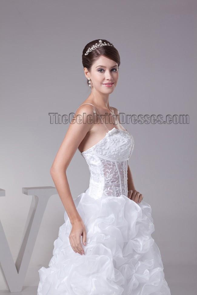 Spaghetti Strap Ball Gown Wedding Dress  Floor Length Spaghetti Straps Ball Gown Lace Up Wedding