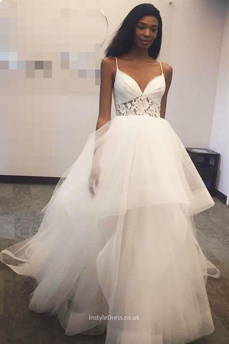 Spaghetti Strap Ball Gown Wedding Dress  Sheer Lace Sweetheart Keyhole Back Tulle Wedding Gowns