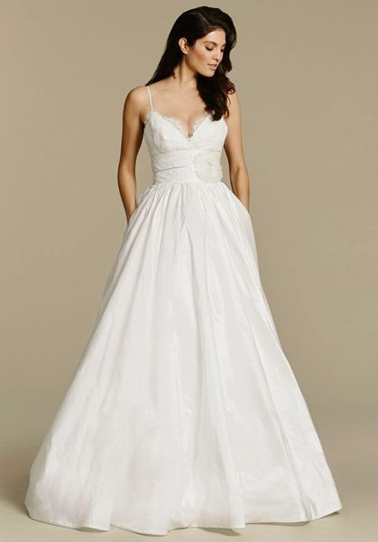 Spaghetti Strap Ball Gown Wedding Dress  Spaghetti Strap V neck Taffeta Ball Gown Wedding Dress