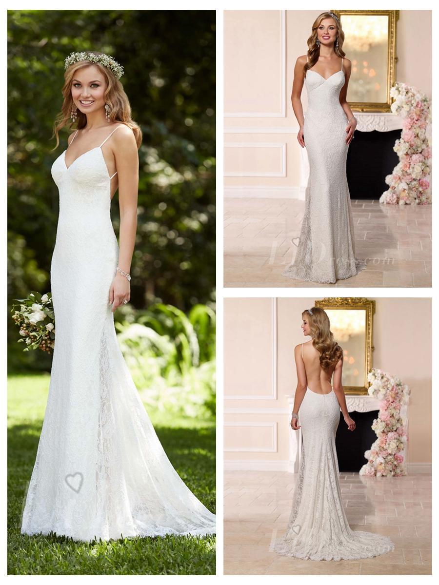 Spaghetti Strap Low Back Wedding Dress 20 Ideas for Dreamatic Spaghetti Straps Low Back Sheath Wedding Dress