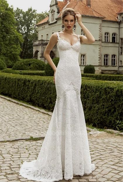 Spaghetti Strap Mermaid Wedding Dress  Lace Wedding Dress Spaghetti Straps