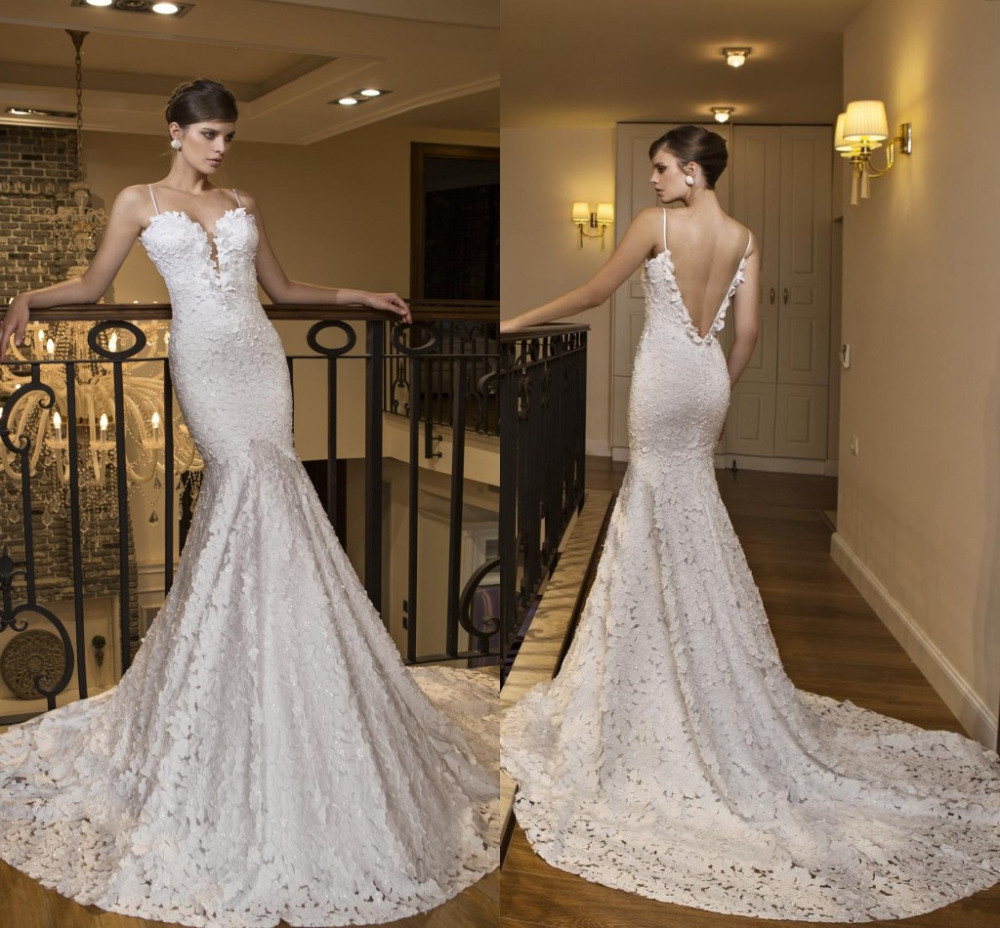 Spaghetti Strap Mermaid Wedding Dress  Pristian Zouboutin Backless Women Mermaid Wedding Dresses