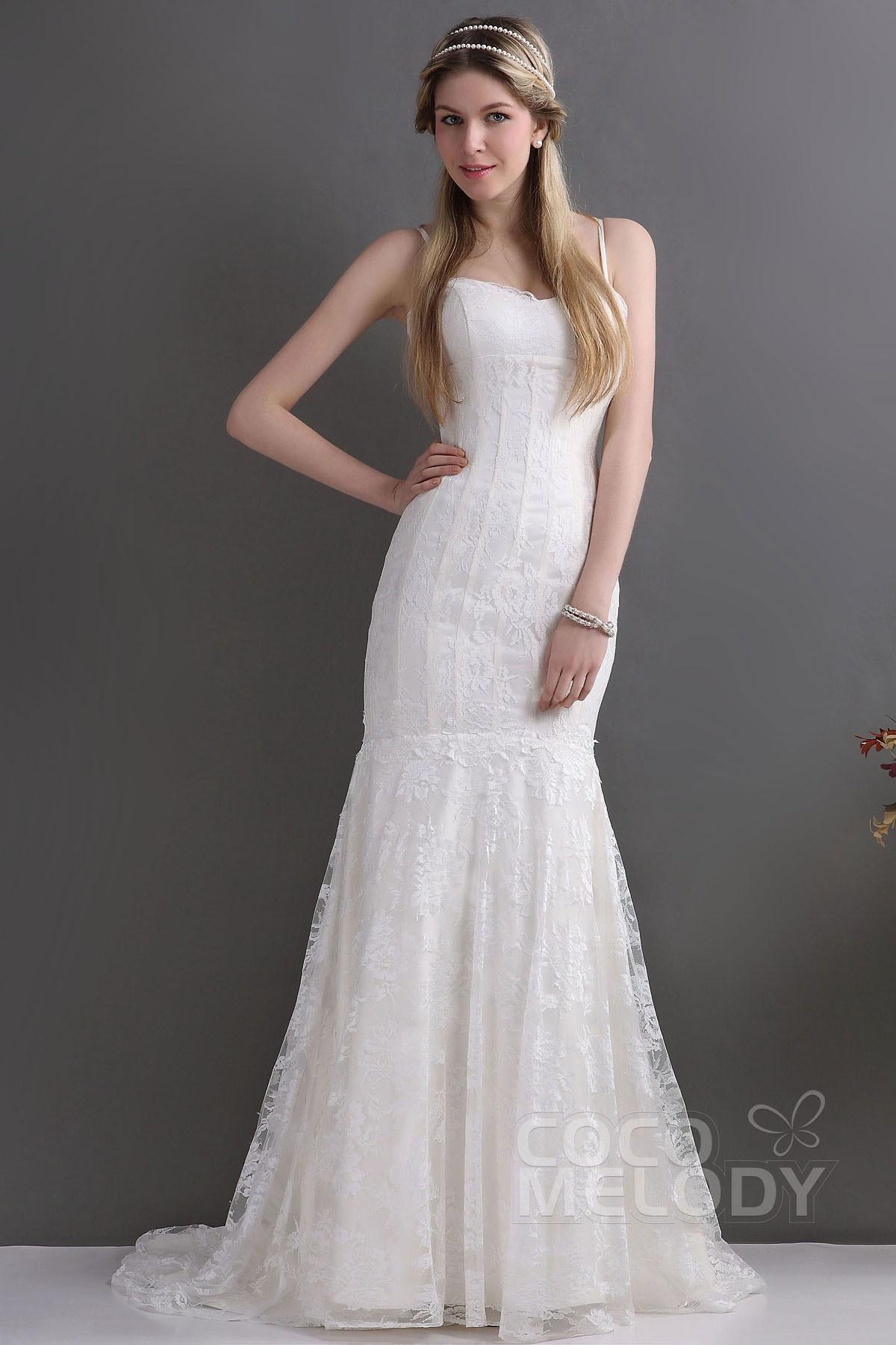 Spaghetti Strap Mermaid Wedding Dress  Co elody Trumpet Mermaid Spaghetti Strap Train Lace
