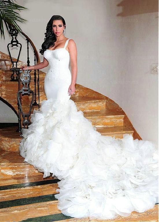 Spaghetti Strap Mermaid Wedding Dress  Shop discount Gorgeous Satin And Tulle Spaghetti Straps
