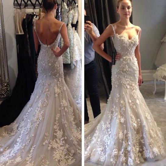 Spaghetti Strap Mermaid Wedding Dress  Charming Spaghetti Straps Mermaid Wedding Dress Bridal