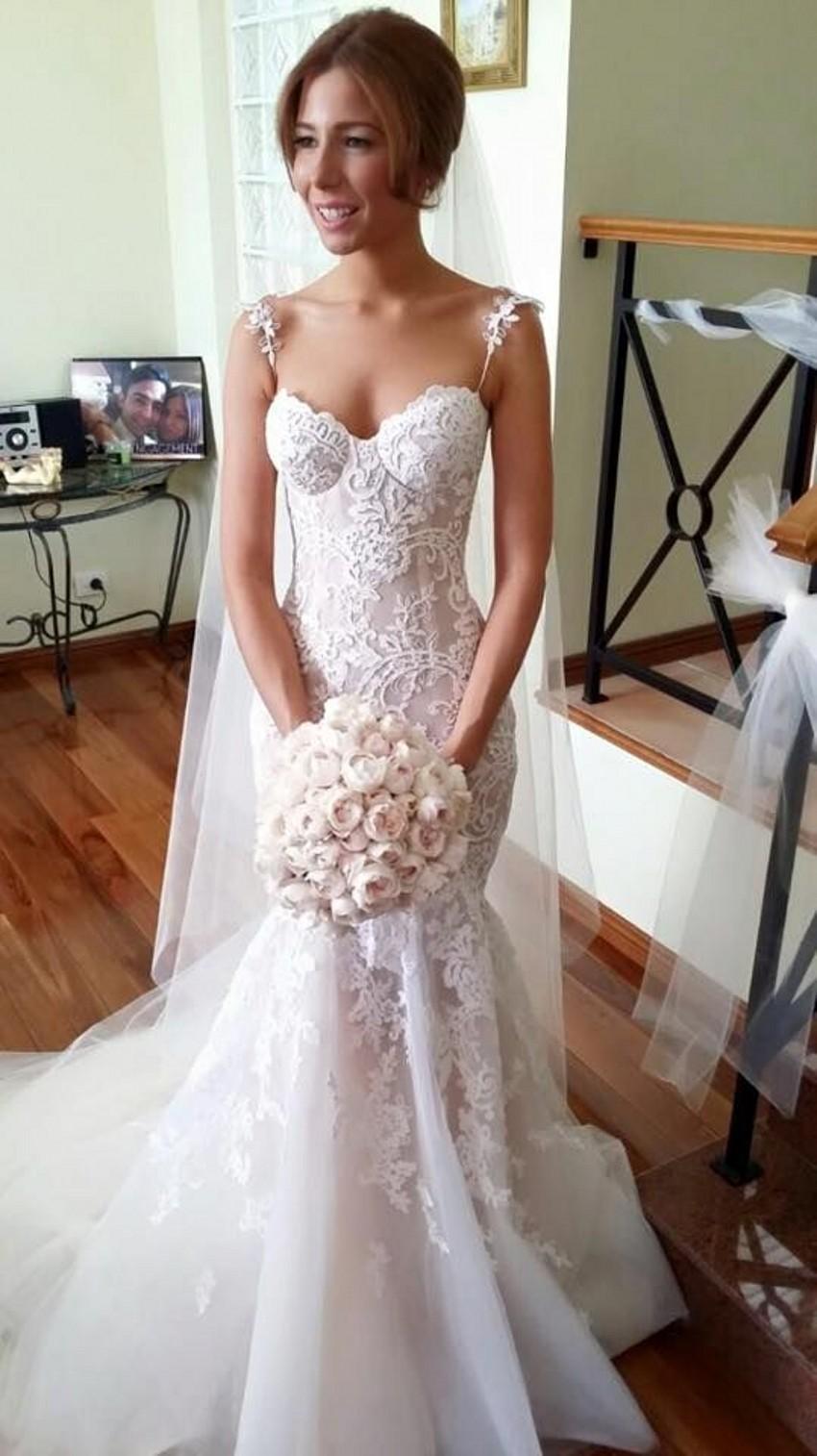 Spaghetti Strap Mermaid Wedding Dress  Long Applique Sleeveless Mermaid Spaghetti Strap Tulle