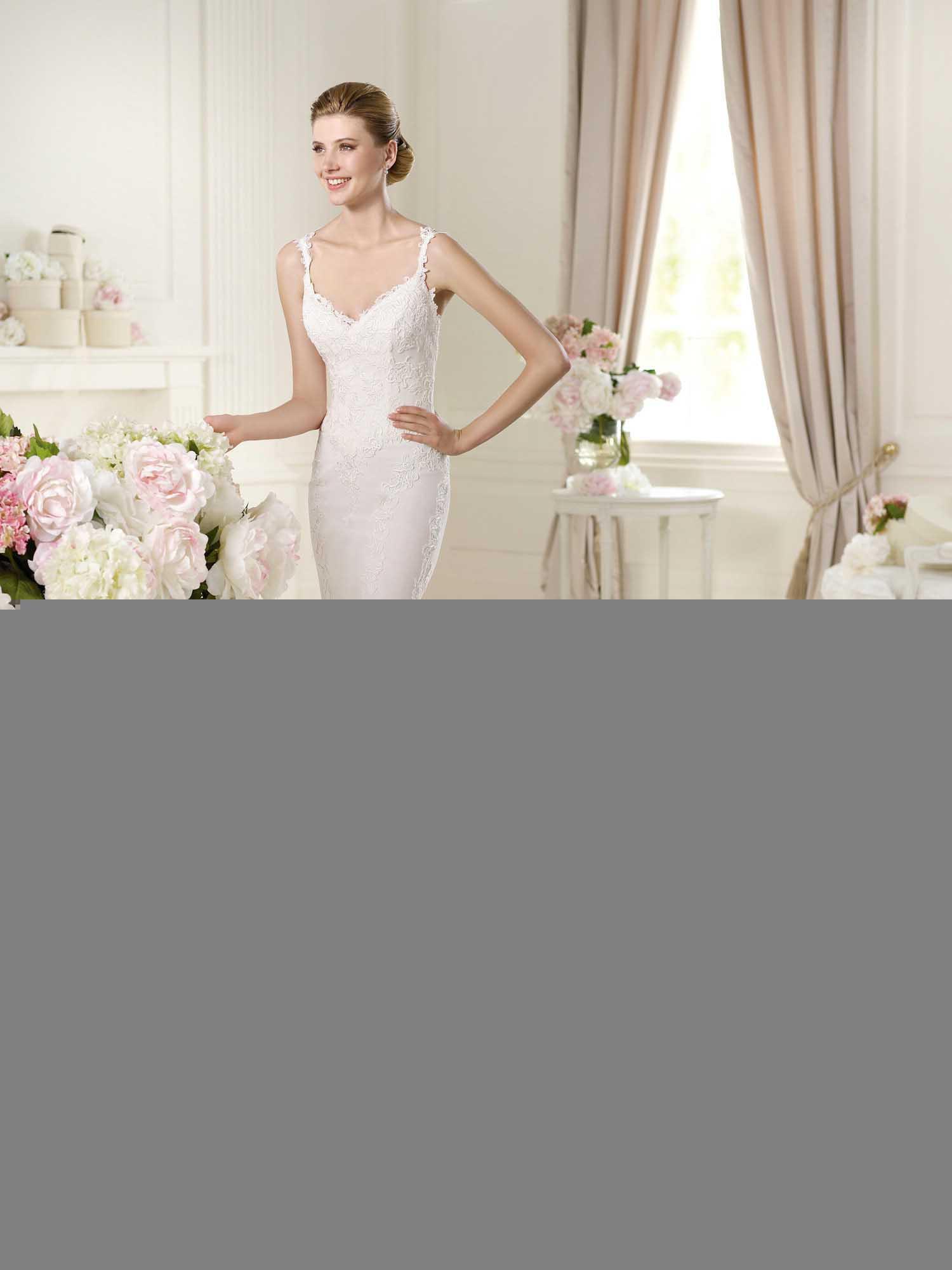 Spaghetti Strap Mermaid Wedding Dress  Simple Spaghetti Straps Mermaid Lace Embroidery With Long