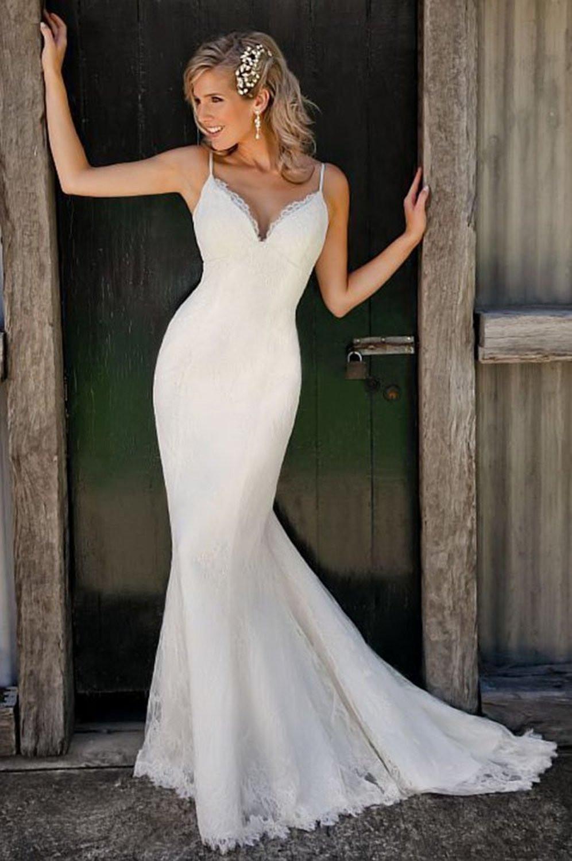 Spaghetti Strap Mermaid Wedding Dress  Spaghetti Straps V Neck Lace Mermaid Wedding Dress Cute