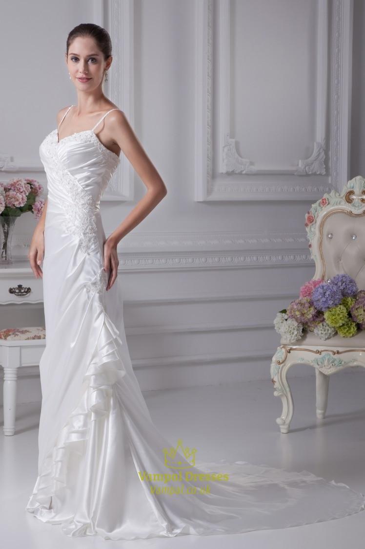 Spaghetti Strap Mermaid Wedding Dress  White Taffeta Wedding Dress Spaghetti Strap Mermaid