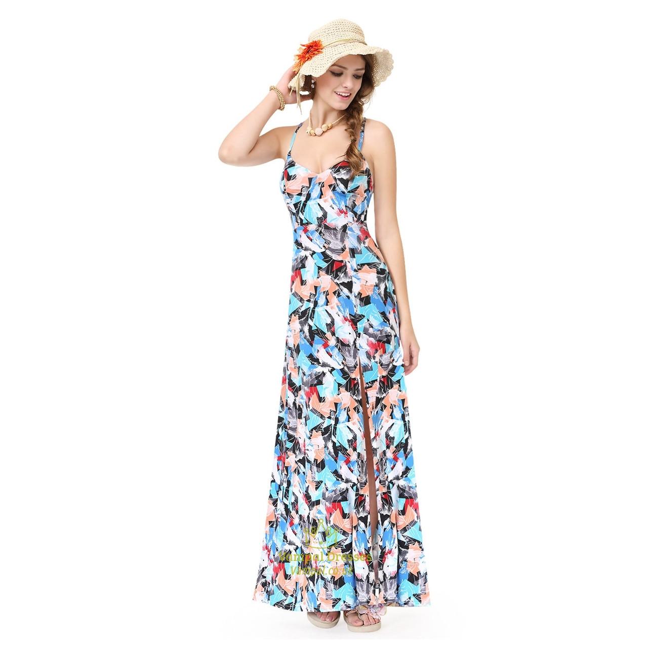 Spaghetti Strap Summer Dress  Colorful Spaghetti Strap Side Split Summer Dress With