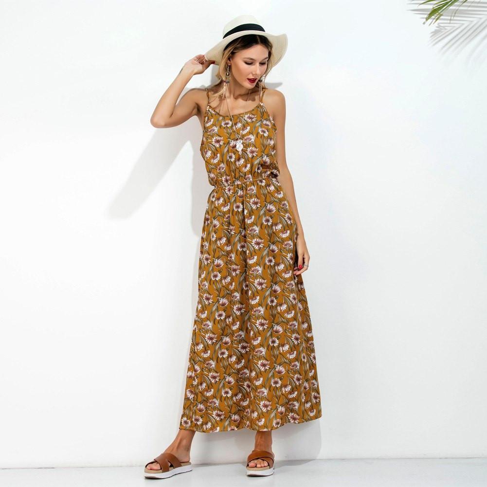 Spaghetti Strap Summer Dress  Long Slip Summer Dress 2017 Floral Print Spaghetti Strap