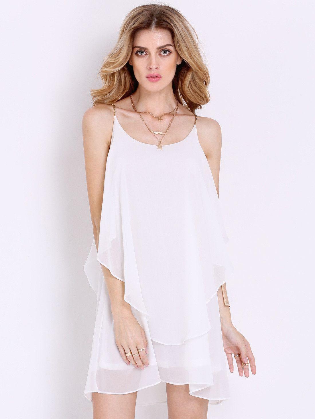 Spaghetti Strap Summer Dress  White Short Spaghetti Strap Summer Dress – fashion dresses