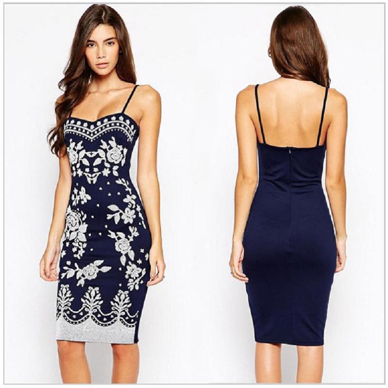 Spaghetti Strap Summer Dresses  2015 Navy Blue Spaghetti Strap Summer Style Dress Women