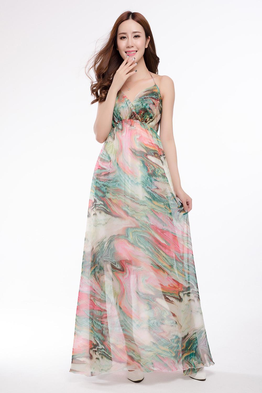 Spaghetti Strap Summer Dresses  New y Women summer dress 2016 High Quality Chiffon