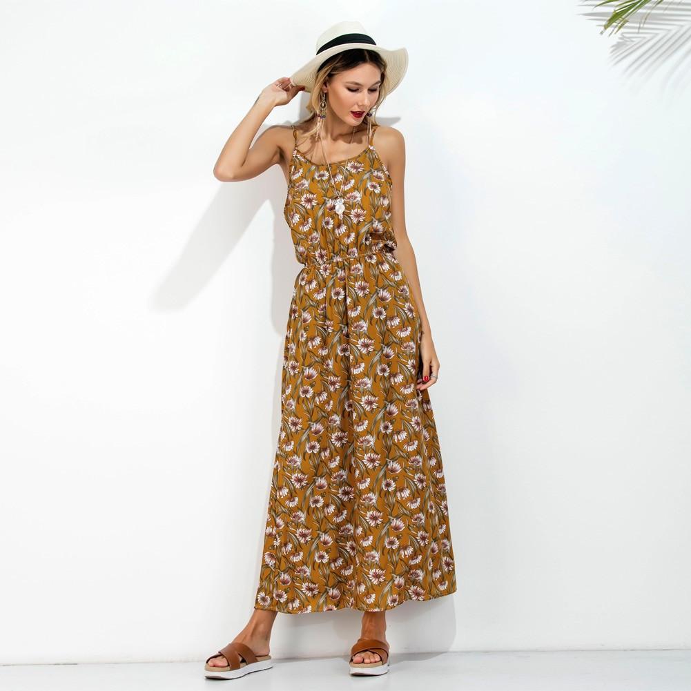 Spaghetti Strap Summer Dresses  Long Slip Summer Dress 2017 Floral Print Spaghetti Strap