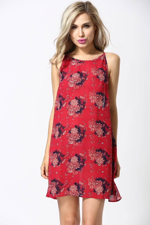 Spaghetti Strap Summer Dresses  2015 Summer Dress Casual Chiffon A Line Dress Sleeveless