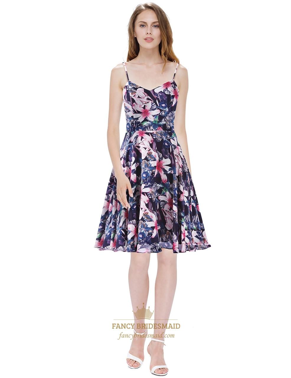 Spaghetti Strap Summer Dresses  Women s Floral Print Spaghetti Strap Knee Length Chiffon