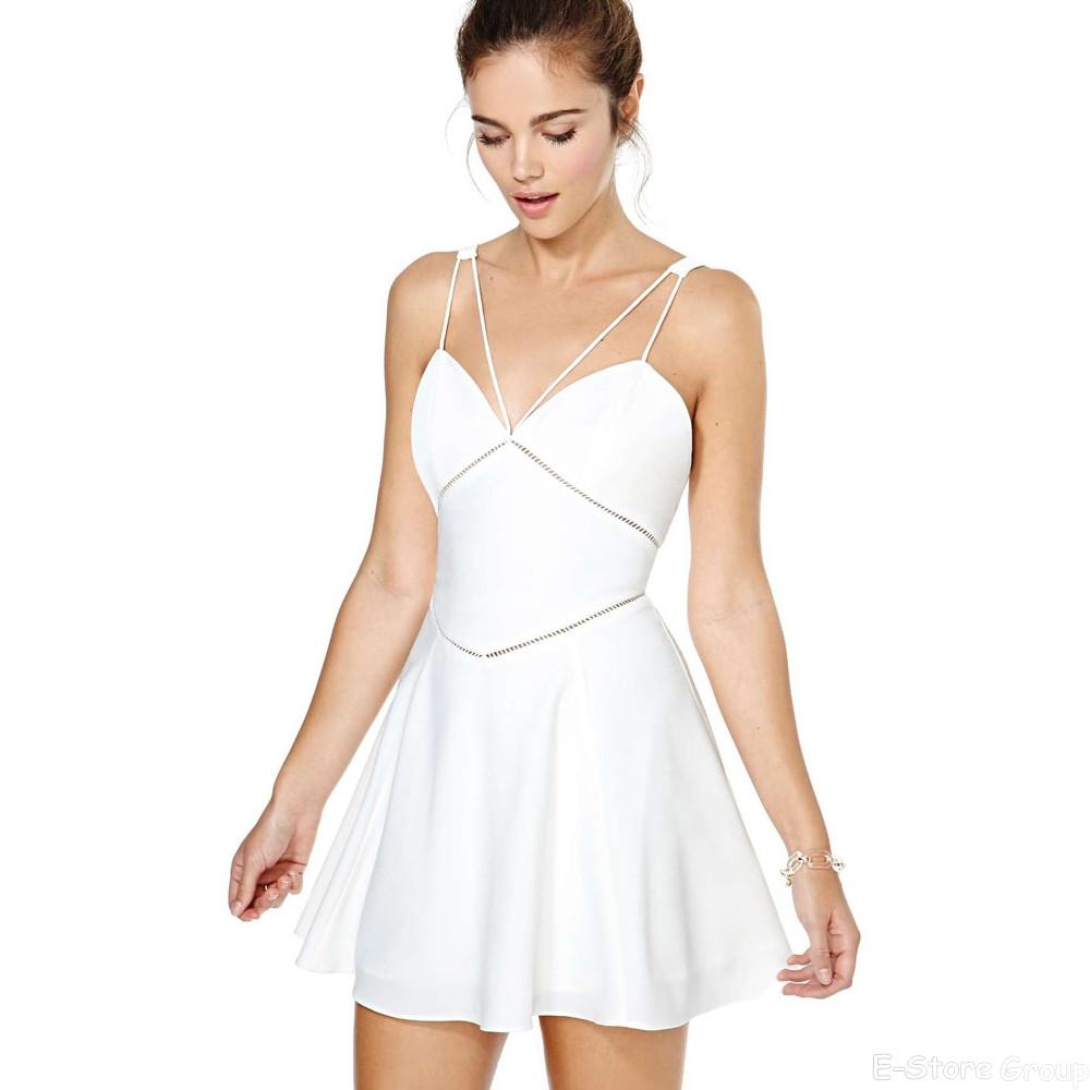 Spaghetti Strap Summer Dresses  Tropical Brand Newest Spaghetti Strap Skater White Mini