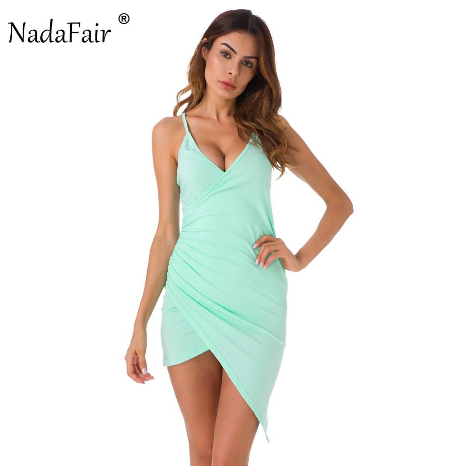 Spaghetti Strap Summer Dresses  Nadafair Mint Green Spaghetti Strap y V Neck Club