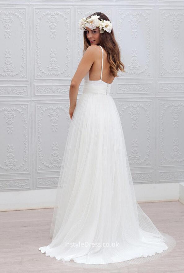 Spaghetti Strap Tulle Wedding Dress  Sleeveless Open Back Ivory A line Tulle Floor Length Beach