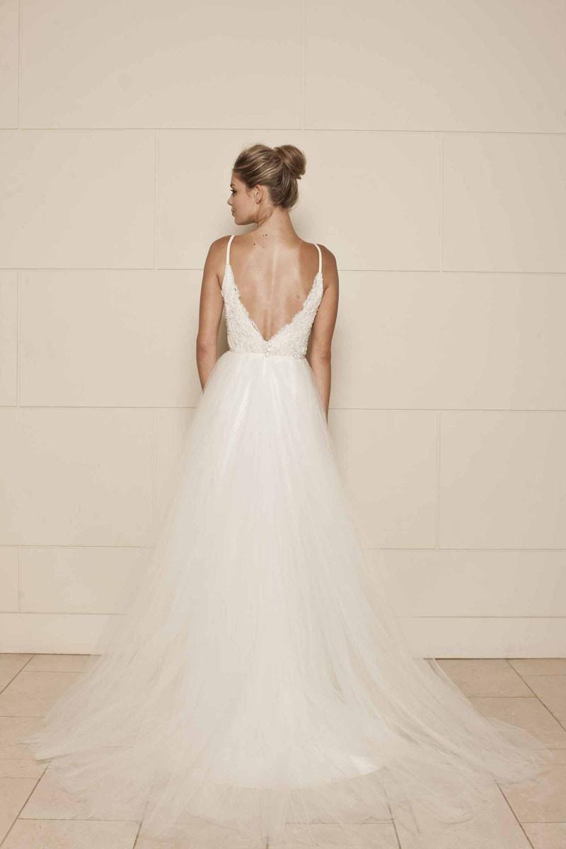 Spaghetti Strap Tulle Wedding Dress  Sleeveless Spaghetti Strap Ivory Lace and Tulle Vintage
