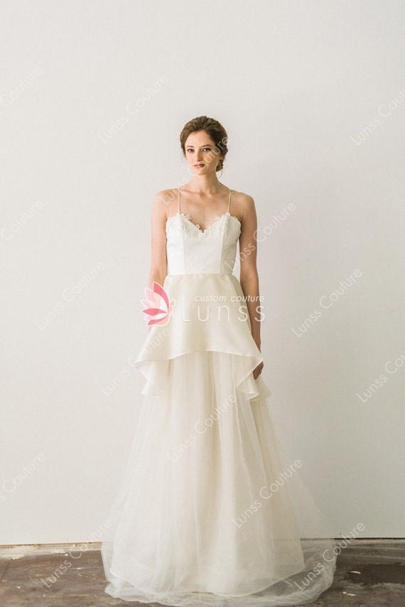 Spaghetti Strap Tulle Wedding Dress  Spaghetti Straps A line Summer Silk Organza and Tulle