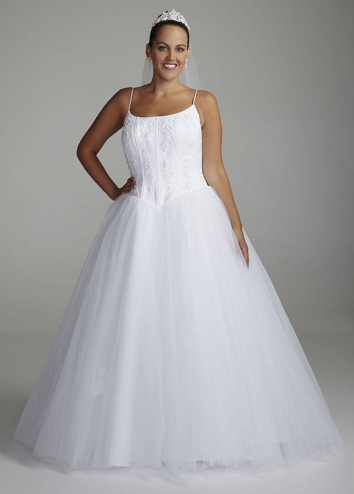 Spaghetti Strap Tulle Wedding Dress  David s Bridal SAMPLE Spaghetti Strap Tulle Ball Gown
