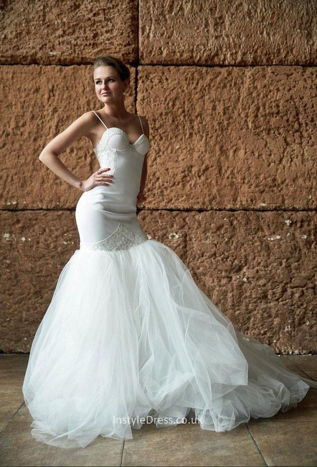 Spaghetti Strap Tulle Wedding Dress  Fit and Flare White y Spaghetti Strap Sleeveless