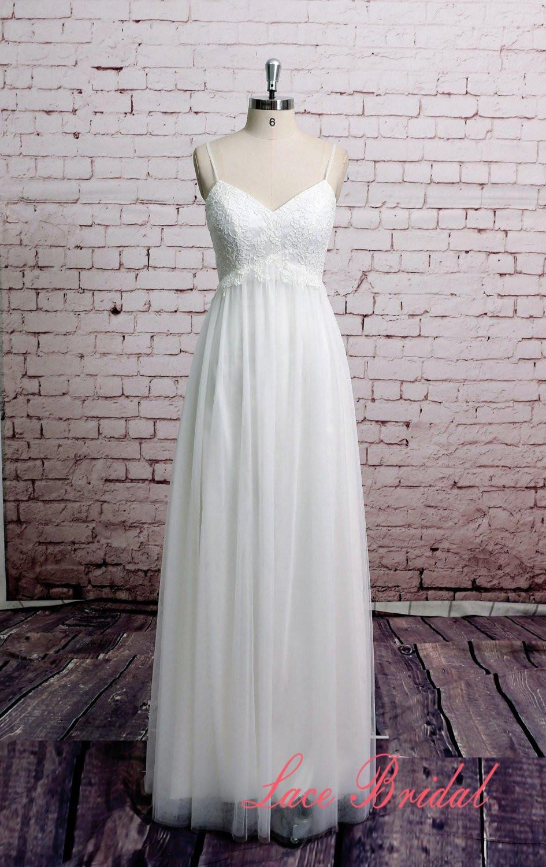 Spaghetti Strap Tulle Wedding Dress  Spaghetti Straps Wedding Dress Tulle Skirt Bridal by
