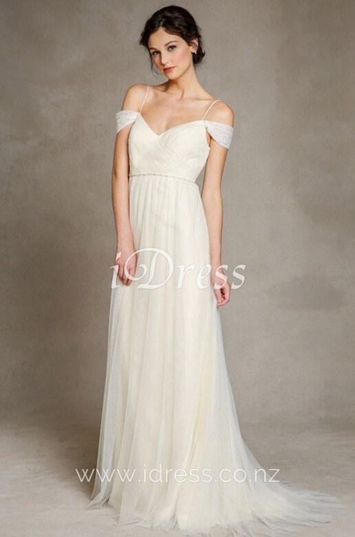 Spaghetti Strap Tulle Wedding Dress  Romantic Open Back Spaghetti Straps A line Simple Tulle