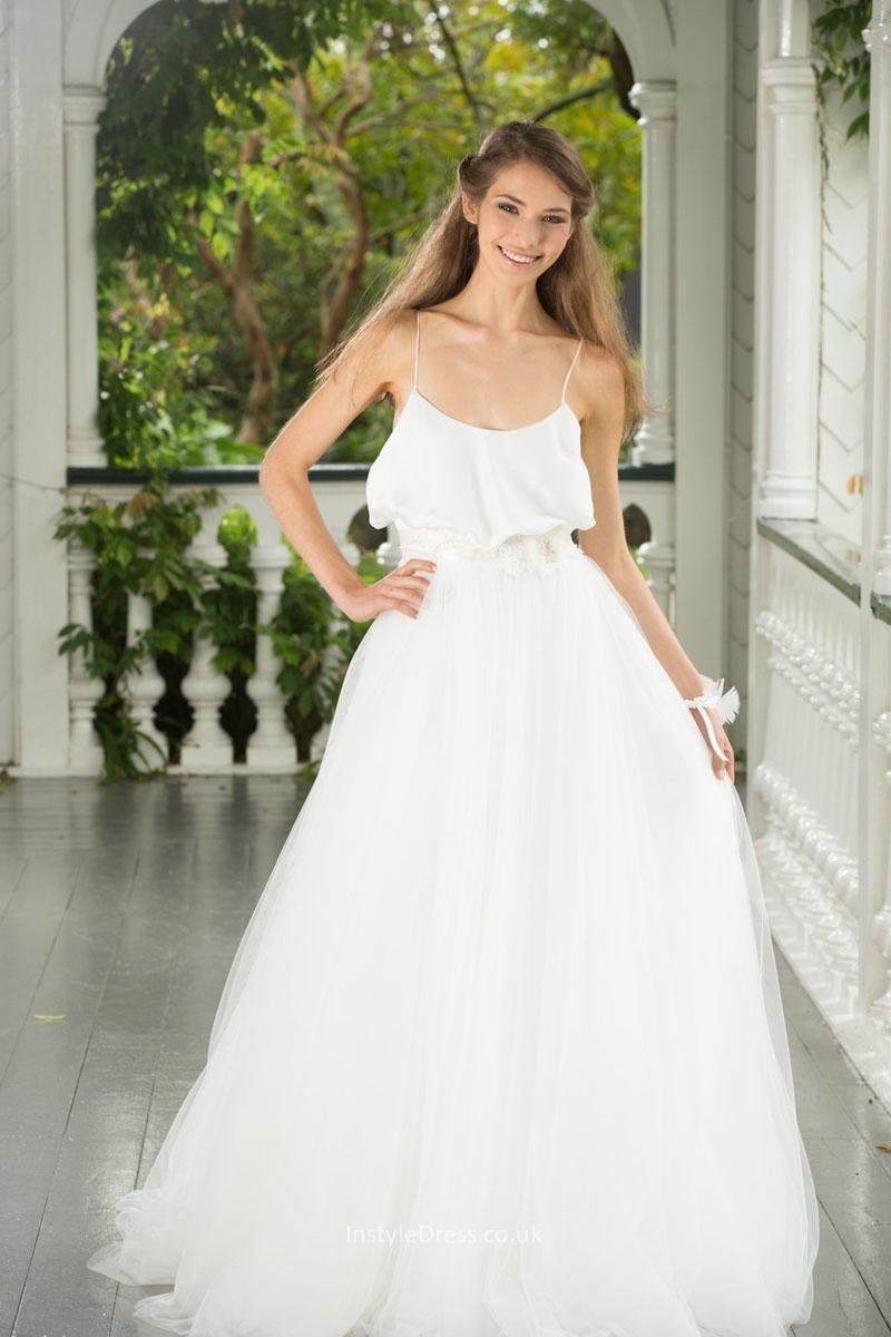 Spaghetti Strap Tulle Wedding Dress  Informal Ball Gown Spaghetti Straps Backless Tulle Wedding