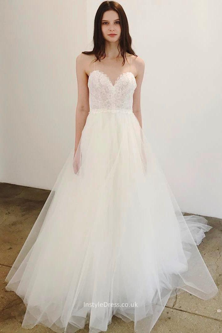 Spaghetti Strap Tulle Wedding Dress  Lace Sweetheart Bodice Tulle Skirt A line Spaghetti Straps