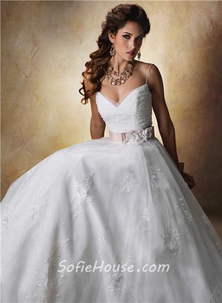 Spaghetti Strap Tulle Wedding Dress  Princess Ball Gown Sweetheart Spaghetti Strap Tulle Lace