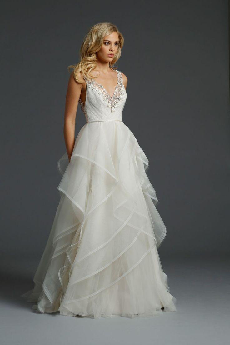 Spaghetti Strap Tulle Wedding Dress  Tulle Luxury Beading Spaghetti Straps Wedding Gown